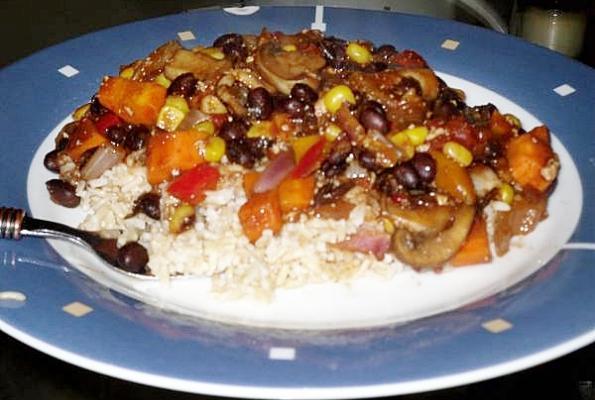Vegan Black Bean Chili over Rice | VegWeb.com, The World's Largest ...