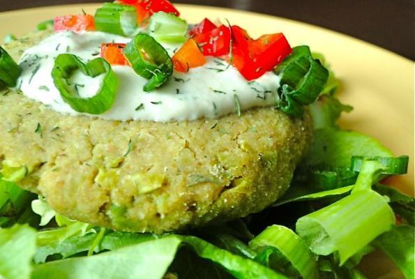 Chickpea-Edamame Burgers with Tahini-Dill Sauce | VegWeb ...
